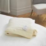 John Atkinson Cellular Atkincel Satin Bound Wool White Blanket
