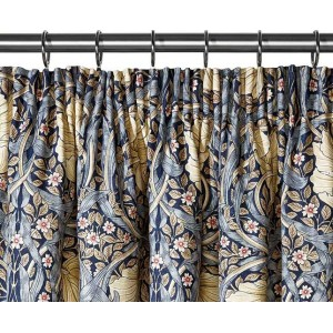 William Morris Pimpernel Blue Lined Curtain Pairs