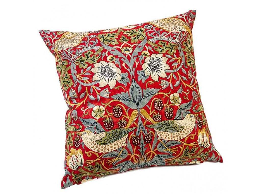 William Morris Crimson Strawberry Thief Cushions