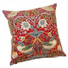 William Morris Crimson Strawberry Thief Cushions