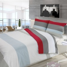 Driftwood Block Stripe Red Duvet Cover Sets