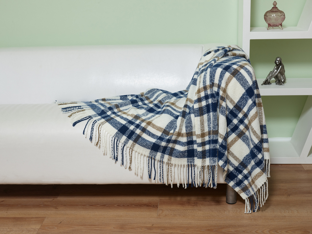 Elainer Woollen Mix Plaid Check Blue Throw