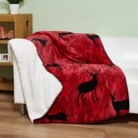 Elainer Festive Red Stags Fleece Throw