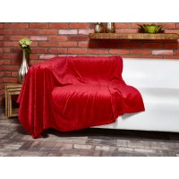 Elainer Festive Super Soft Red Cable Fleece Throw