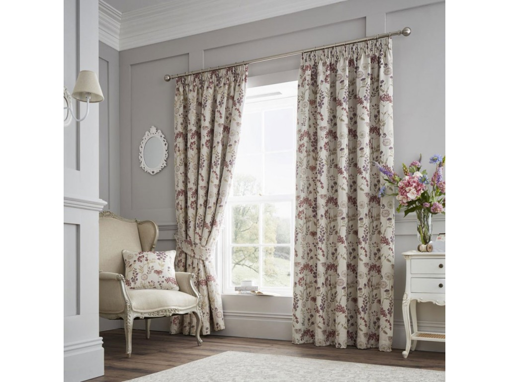Curtina Berrington Purple Pencil Pleat Curtains and Cushions