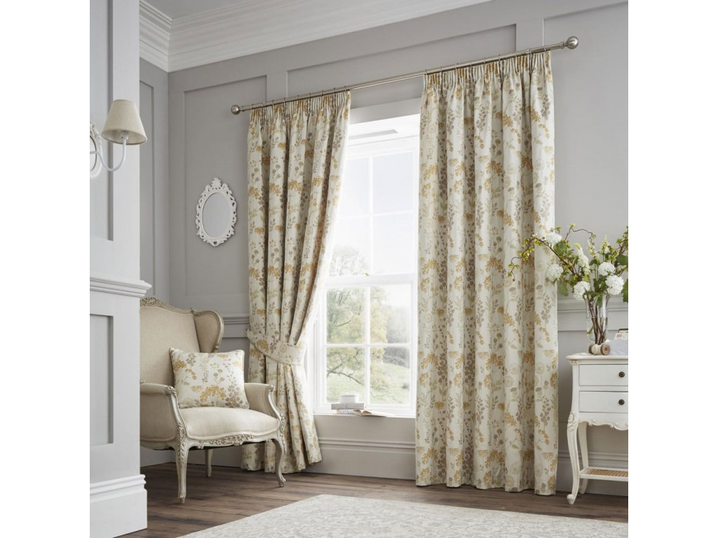 Curtina Berrington Ochre Pencil Pleat Curtains and Cushions