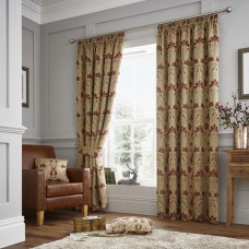 Curtina Burford Red/Gold Pencil Pleat Curtains and Cushions