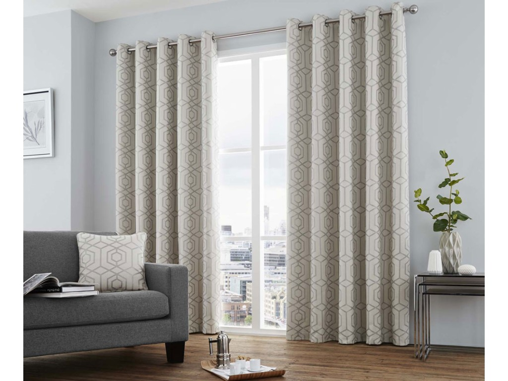 Curtina Camberwell Silver Eyelet Curtains and Cushions