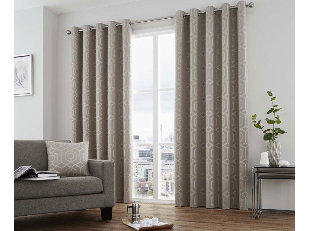 Curtina Camberwell Stone Eyelet Curtains and Cushions