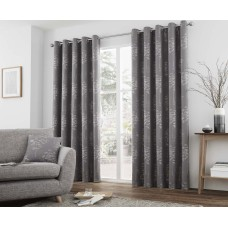 Curtina Elmwood Graphite Eyelet Curtains and Cushions