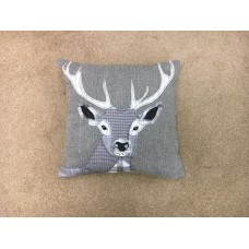 Dreams n Drapes Herringbone Silver Stag Square Cushion