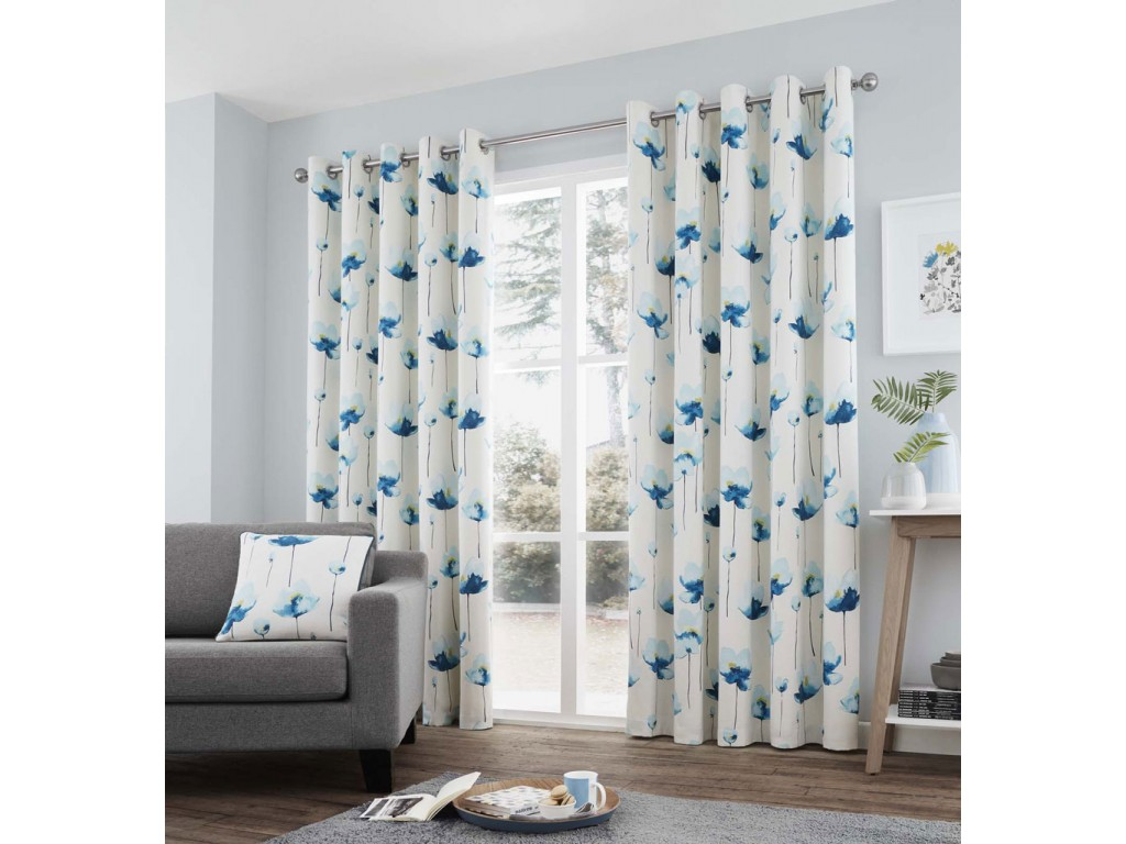 Kiera Eyelet Teal Curtains and Cushions
