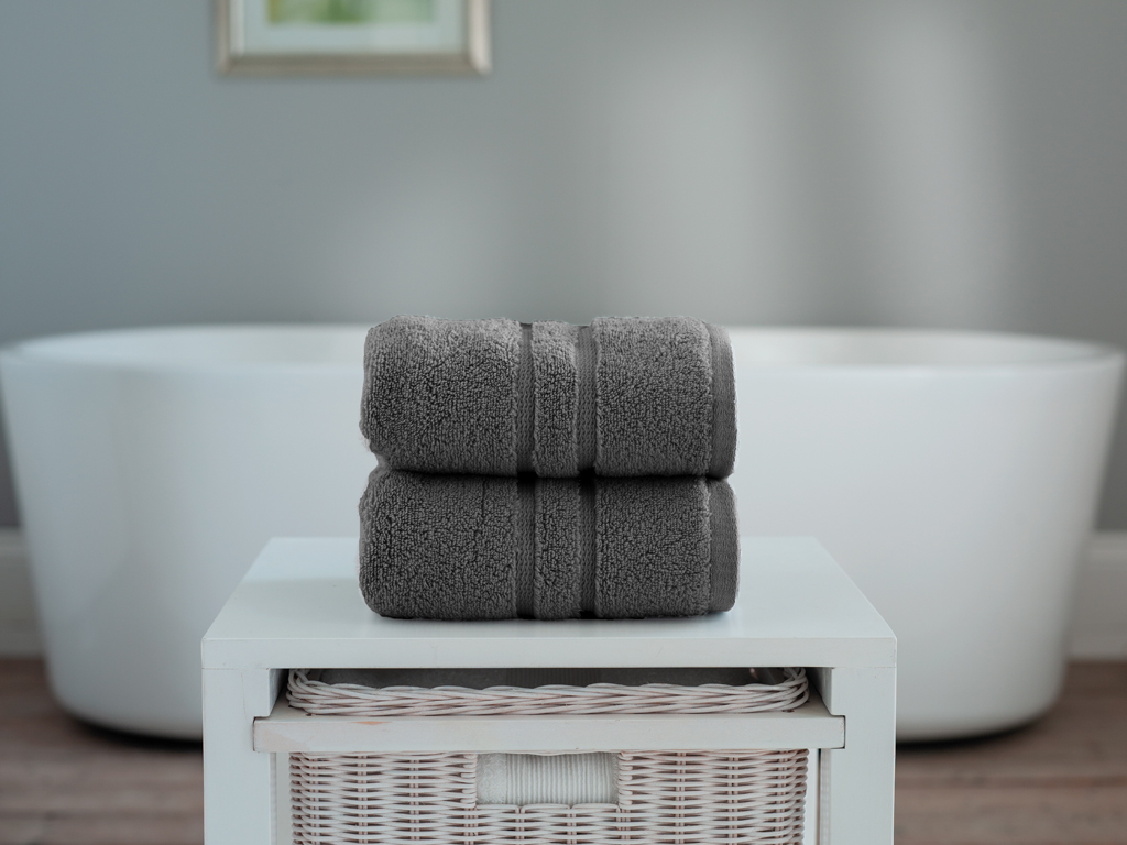 The Lyndon Company Chelsea Zero Twist Charcoal Cotton Towels