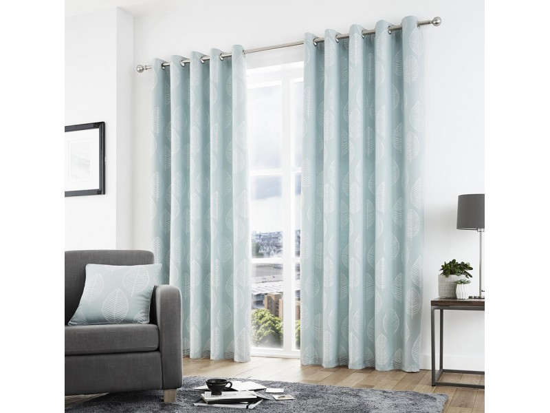 Curtina New Helsinki Eyelet Duck Egg Curtains and Cushions