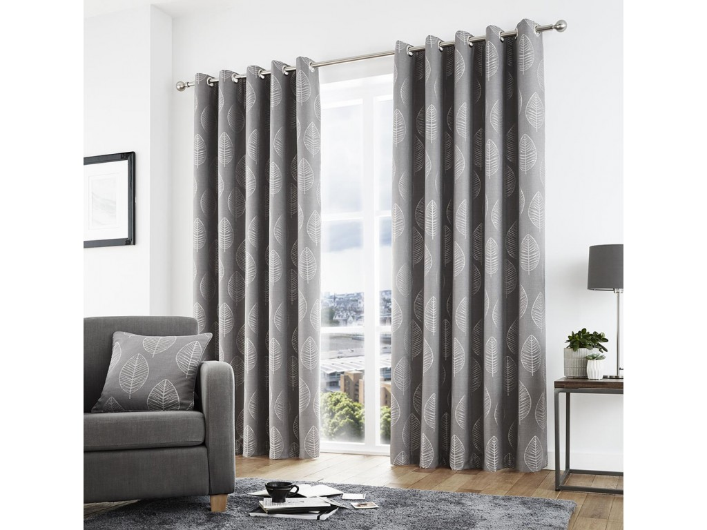 Curtina New Helsinki Eyelet Graphite Curtains and Cushions
