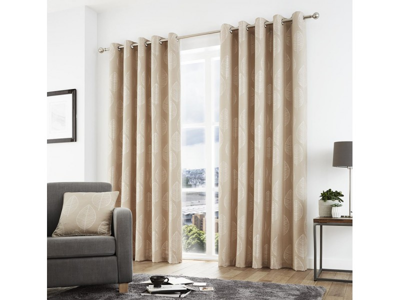 Curtina New Helsinki Eyelet Natural Curtains and Cushions