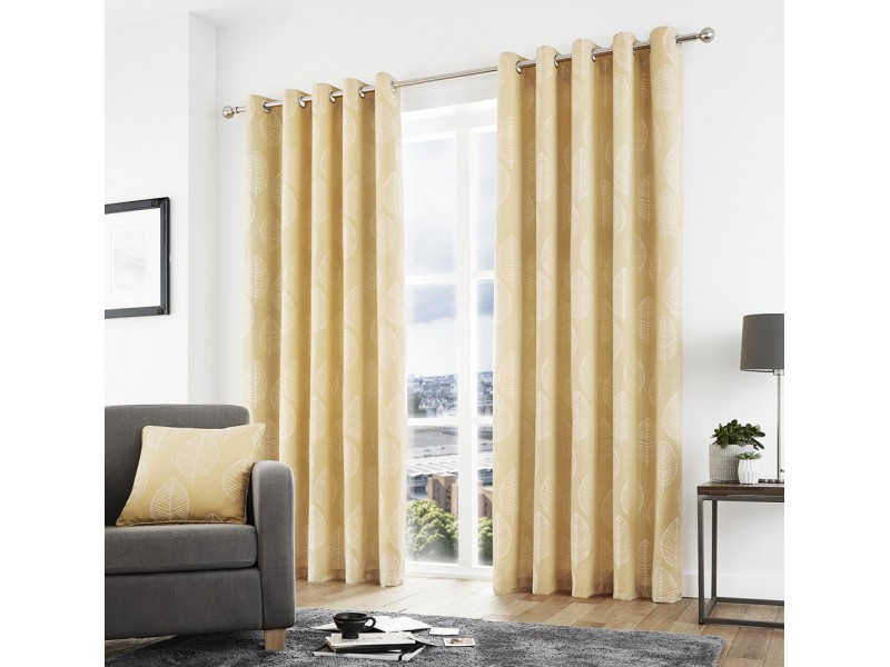 Curtina New Helsinki Eyelet Ochre Curtains and Cushions