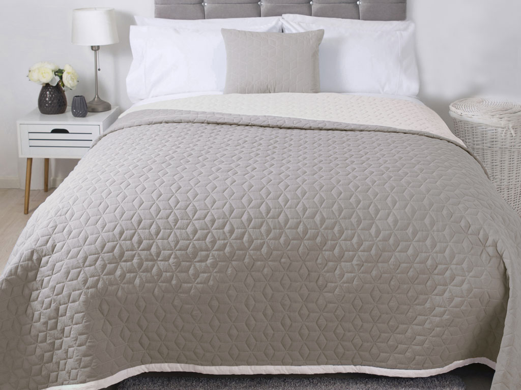 Belledorm Panama Natural Quilted Bedspread, Runner and Cushion