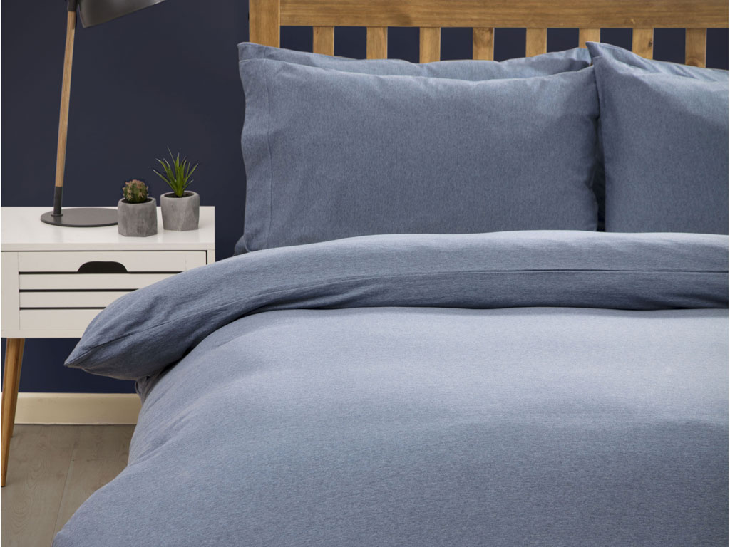 Belledorm New Jersey Marl Blue Cotton Duvet Cover Sets