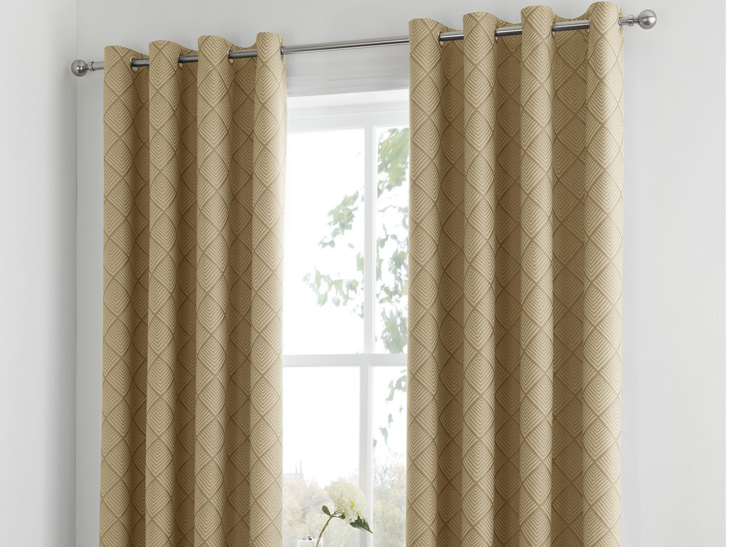 Serene New Wilmslow Ochre Lined Eyelet Curtains
