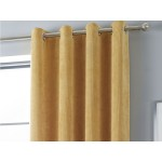 Curtina Kilbride Cord Ochre Eyelet Curtains and Cushions