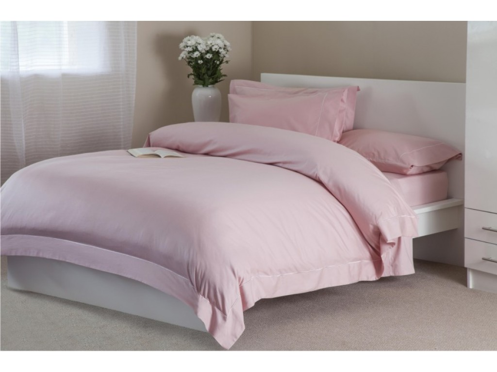 "Belledorm 400 Thread Count Egyptian Blended Cotton 12"" Blush Fitted Sheets"