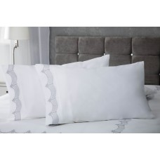 Maison Blanche Annaya Silver Embroidered Pillowcase Pairs