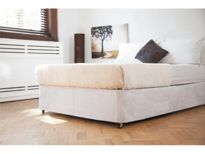 Belledorm Luxury Suede Divan Base Wrap Extra Deep Linen