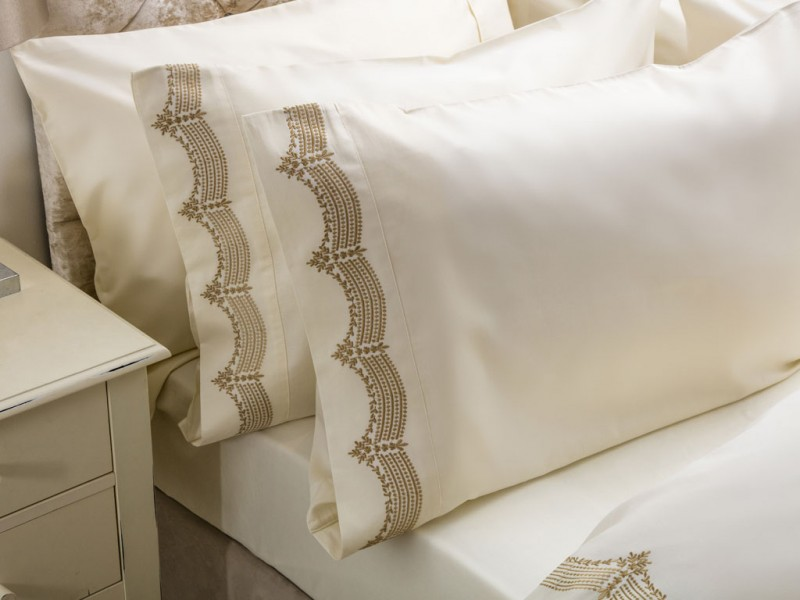 Maison Blanche Annaya Gold Embroidered Pillowcase Pairs