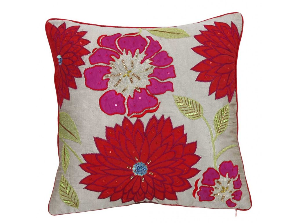 Cimc Home Pink And Red Sequin Flowers Cushion