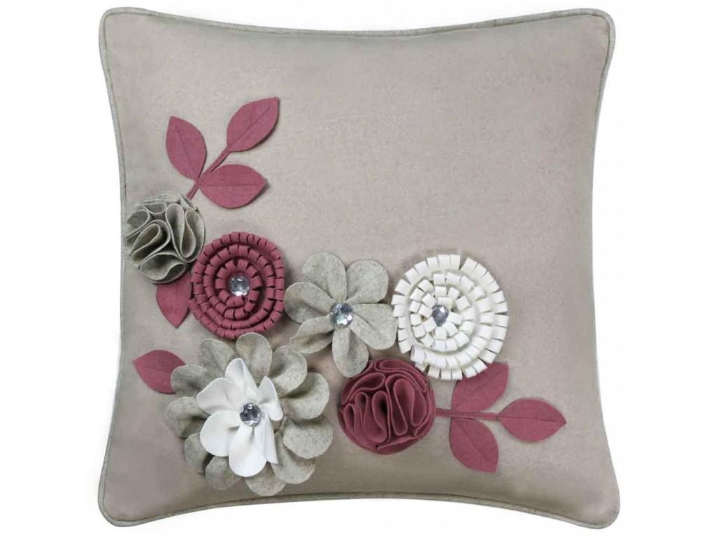 Cimc Home Pink Felt Flower And Gems Cushion
