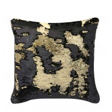 CIMC home Black and Gold Two Tone Sequin Siren Small Cushion
