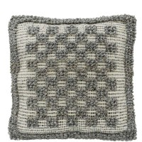 CIMC home Grey Chequered Bobbly Large Cushion