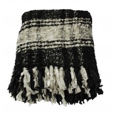 CIMC home Large Throw Black And White Plaid Sparkle Weave