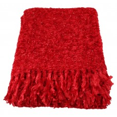 CIMC home Large Throw Red Sparkle Weave
