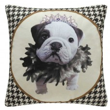 CIMC home Black and White Princess Bulldog Cushion