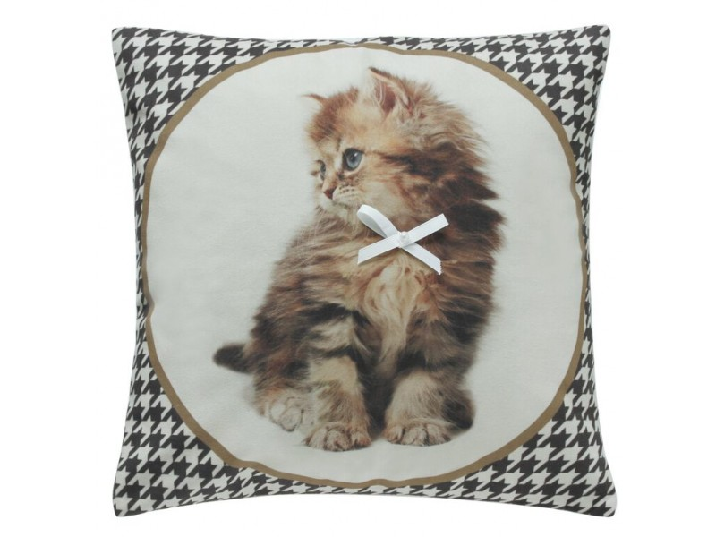 CIMC home Brown Fluffy Kitten with Bow Cushion