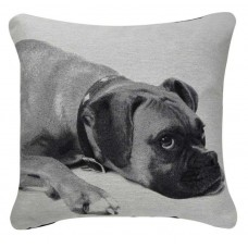 CIMC home Black and White Boxer Dog Cushion