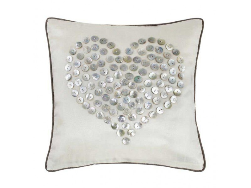 CIMC home Ivory Cushion with Mother of Pearl Button Heart