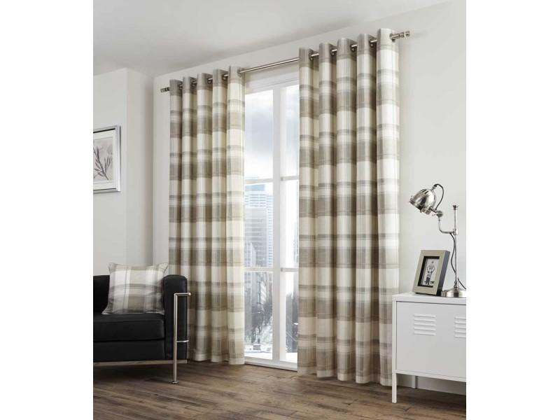 Fusion Balmoral Check Eyelet Natural Curtains and Cushions