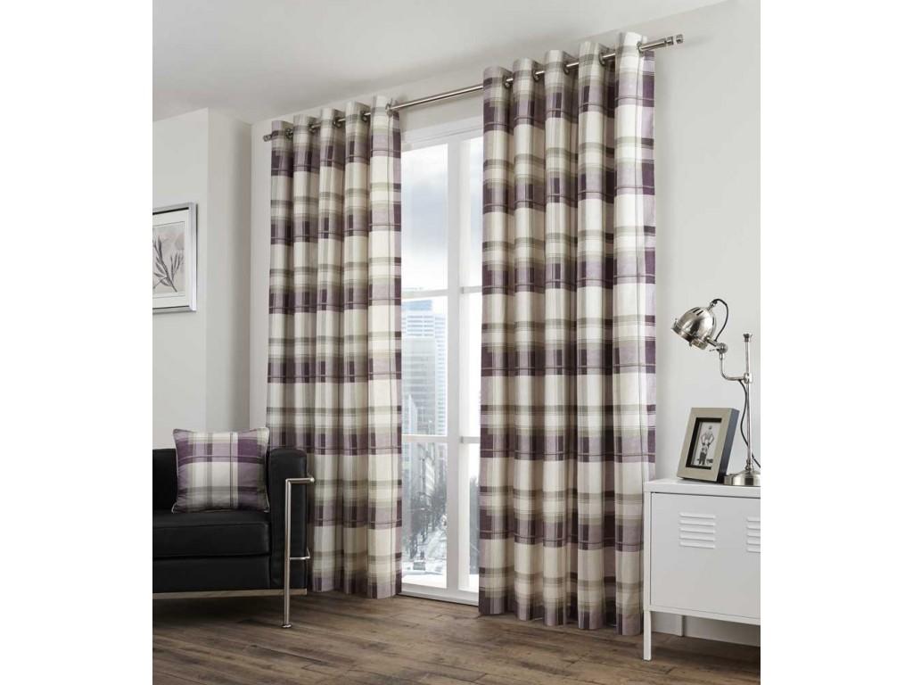 Balmoral Check Eyelet Plum Curtains and Cushions