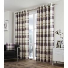 Fusion Balmoral Check Eyelet Plum Curtains and Cushions