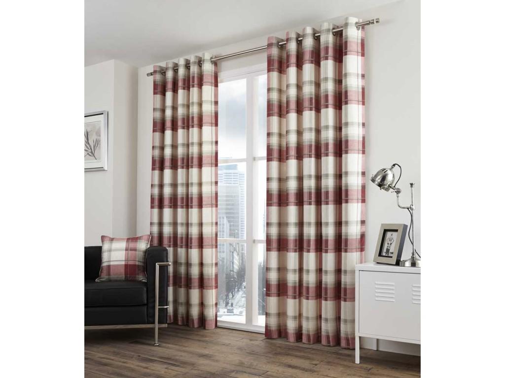 Fusion Balmoral Check Eyelet Ruby Curtains and Cushions