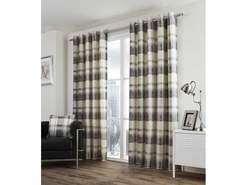 Fusion Balmoral Check Eyelet Slate Curtains and Cushions