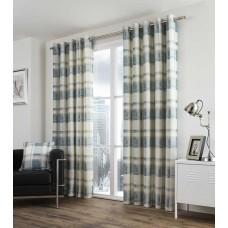 Fusion Balmoral Check Eyelet Teal Curtains and Cushions