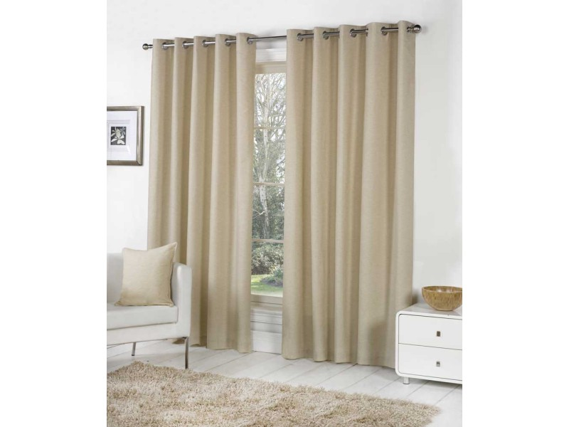Fusion Eyelet Sorbonne Natural Curtains and Cushions