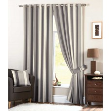Curtina Whitworth Eyelet Charcoal Curtains, Ties Backs and Cushions