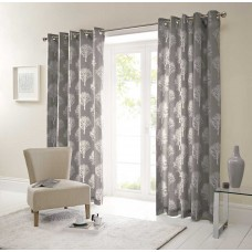 Fusion Woodland Trees Charcoal Eyelet Curtains and Cushions