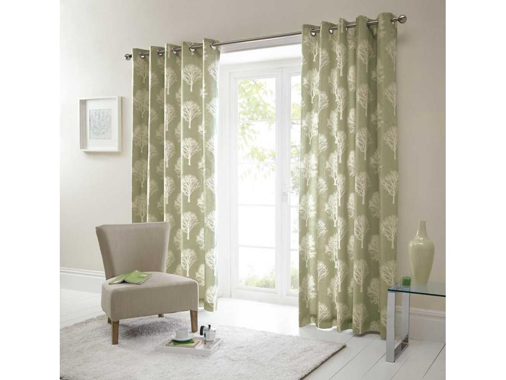 Fusion Woodland Trees Eyelet Green Curtains And Cushions