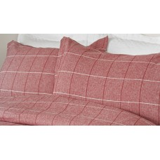Design Port Acton Red Brushed Cotton Oxford Pillowcase